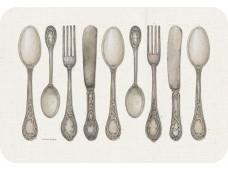"""Cala Home Podkładki na stół - matowe, przezroczyste C43356 """"utensils"""""""