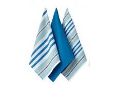 Ladelle Oasis komplet trzech ręczników kuchennych L33039 wzór 3 niebieskie