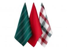 Ladelle Christmas Brick komplet trzech ręczników kuchennych L73572 wzór 1