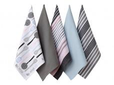 Ladelle Mix Flip Whisk wzór Grey komplet pięciu ręczników kuchennych L32916