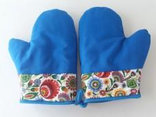 Łowicz rękawice kuchenne niebieskie 2 szt