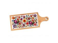 Łowicz deska dekoracyjna z płytką ceramiczną koguty fioletowe