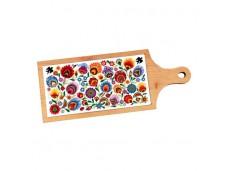 Łowicz deska dekoracyjna z płytką ceramiczną kwiaty