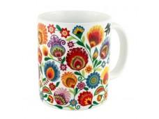 Łowicz kubek porcelanowy kwiaty