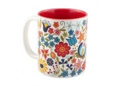 Kaszuby kubek porcelanowy czerwony kwiaty