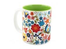 Kaszuby kubek porcelanowy zielone kwiaty