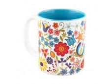 Kaszuby kubek porcelanowy niebieski kwiaty