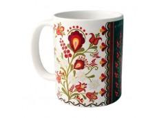 Podhale kubek porcelanowy kwiaty pas