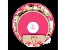 """Ashdene Filiżanki porcelanowe do herbaty z talerzykiem koktajowym 16313 """"flamingo rose"""""""