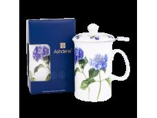 """Ashdene Kubek porcelanowy z zaparzaczem do herbaty 15819 """"niebieska hortensja"""""""