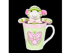 """Ashdene Kubek porcelanowy z maskotką 16211 """"małpka"""""""
