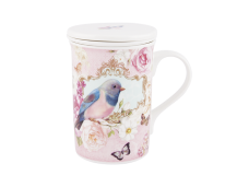 """Ashdene Kubek porcelanowy z ceramicznym zaparzaczem i przykrywką 16251 """"niebieski ptak"""""""