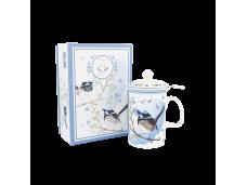 """Ashdene Kubek porcelanowy z zaparzaczem do herbaty 16340 """"strzyżyk"""""""