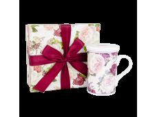 """Ashdene Kubek porcelanowy z ceramicznym zaparzaczem i przykrywką 16376 """"róże vintage"""""""