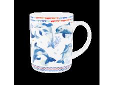 "Ashdene Kubek porcelanowy 16484 ""błękit morza - delfiny"""