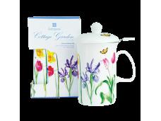 """Ashdene Kubek porcelanowy z zaparzaczem do herbaty 16594 """"przydomowy ogród"""""""