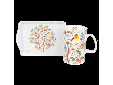 """Ashdene Kubek porcelanowy z tacką 16888 """"drzewko życia"""""""