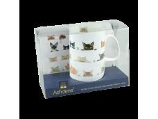 """Ashdene Kubek porcelanowy z tacką 16891 """"ciekawskie kotki"""""""