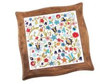 Nanaelo podstawka ceramiczna kwiaty brązowa ramka kaszuby
