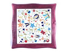 Nanaelo podstawka ceramiczna kwiaty bordowa ramka kaszuby