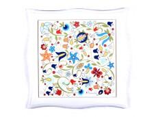 Nanaelo podstawka ceramiczna kwiaty biała ramka kaszuby