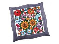 Nanaelo podstawka ceramiczna kwiaty w niebieskiej ramce zalipie